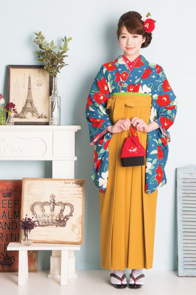 着物:JS青地小紋椿九重 袴:からし